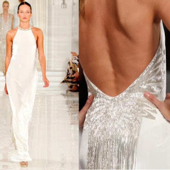 Ralph Lauren white velvet gown with beaded fringe 470334156